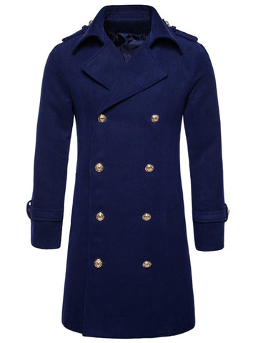 Men's Turndown Collar Double Breasted Long-line Peacoat