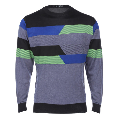 Stylish Stripe Round Neck Pullover Male Knitwear 2565