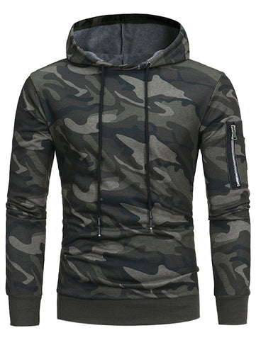 Men's Hooded Camouflage Fleece Pullover Long Sleeves Hoodie
