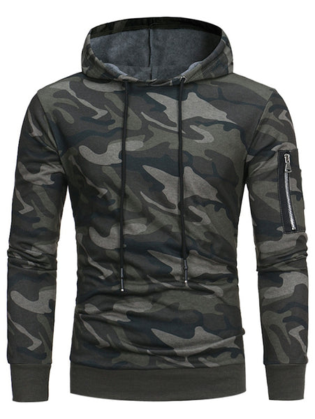 Cool Army Green Camouflage Fleece Man Pullover Hoodie 8228