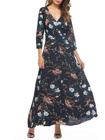 Floral Printed 3/4 Length Sleeve Long Woman Dress 4031