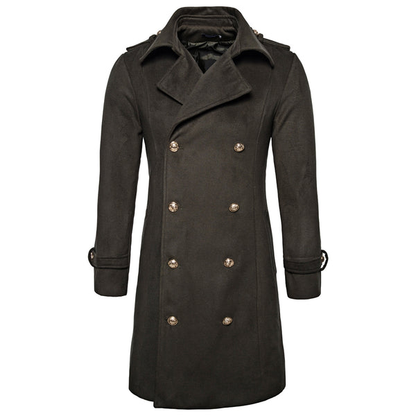 Warm Turndown Collar Double Breasted Woolen Dust Coat for Men 1486