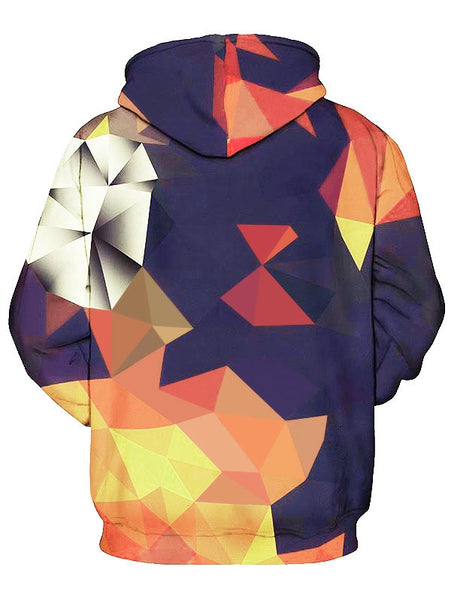 Geometric Printed Man Hooded with Kangaroo Pocket 4724