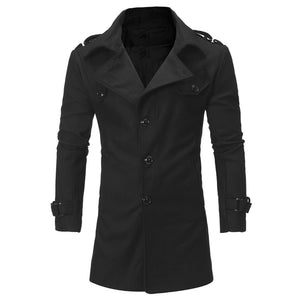 Men's Epaulet Single Breasted Turndown Collar Woolen Coat