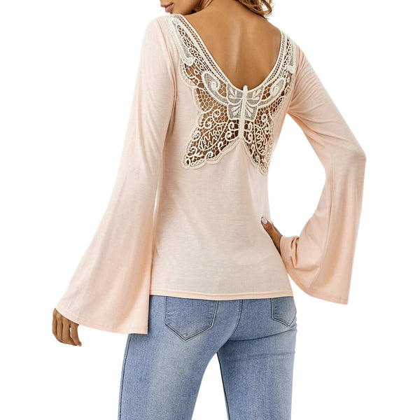 Butterfly Pattern Flare Sleeve T-Shirt 9871