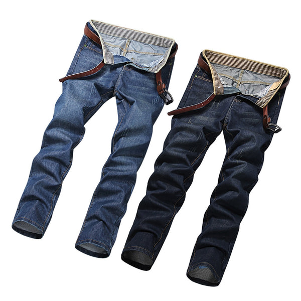 Casual Straight Style Mid Waist Denim Men Jeans 7190