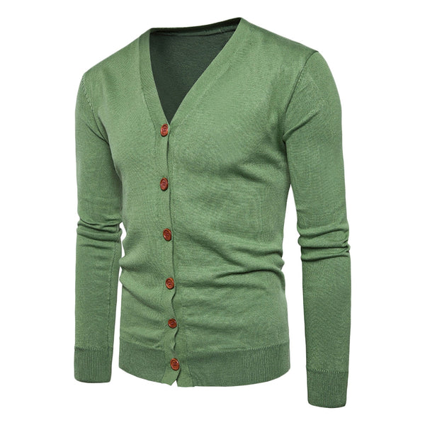V Neck Long Sleeve Men Knitting Cardigan with Button 5052