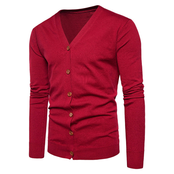 Men's V Neck Knitting Button Up Cardigan for Spring and Fall