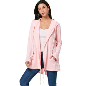 Casual Drawstring Hoodies Losse Coat for Ladies 5828