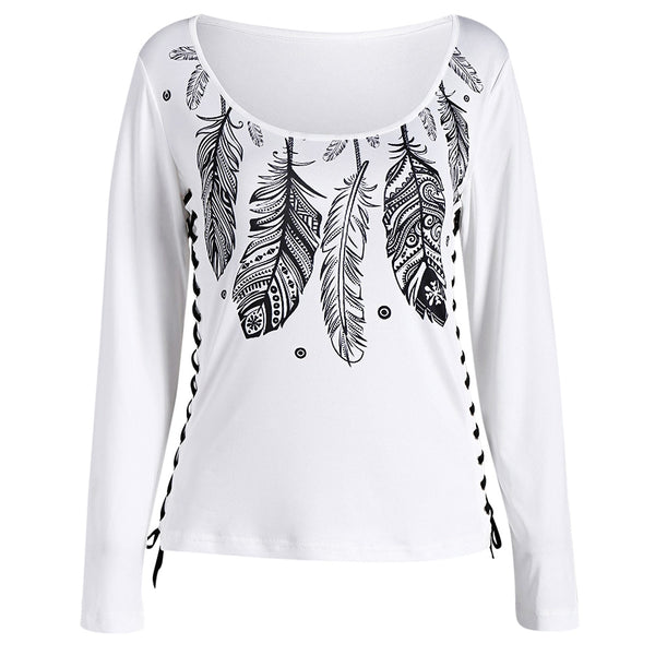 Feather Print Lace Up T-shirt 9782