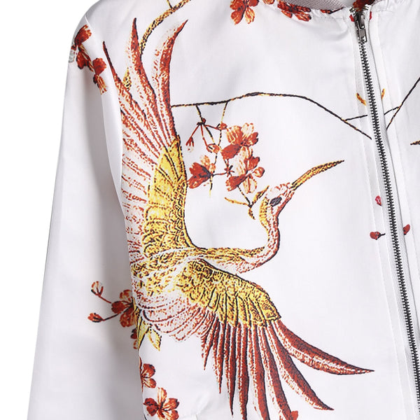 Stand Up Zipper Phoenix Printed Woman Jacket 2129