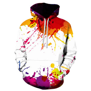 Cotton Colorful Splatter Paint Printe Hooded wit Pouch Pocket 1569