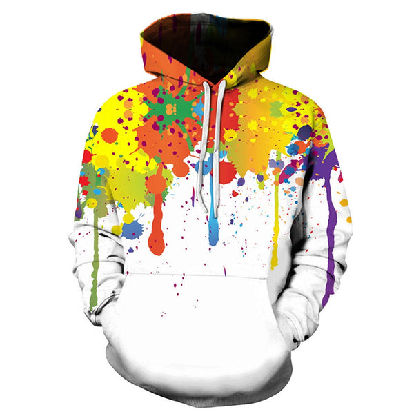 Cool Splatter Paint Printing Sweatershirt Hoodie for Man 8106