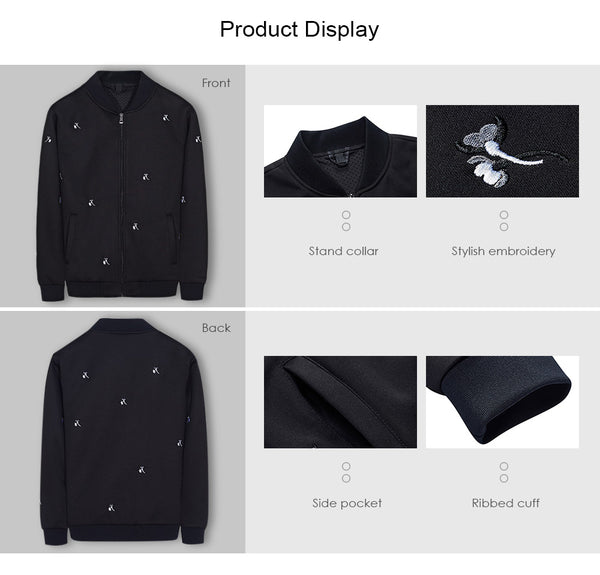Ribbed Cuffs Embroidery Jacket Coats Long Sleeve for Man Fall 4095