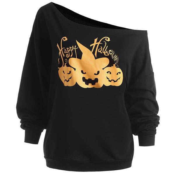 Casual Halloween Pumpkin Printing Women Sweatshirt 2178
