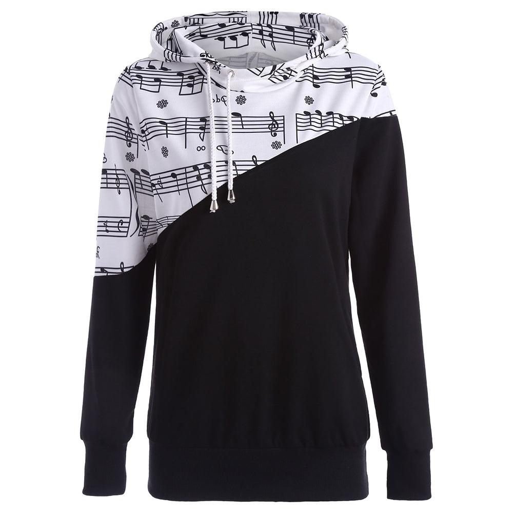 Music Note Patchwork Women Long Sleeved Hoodie 4727
