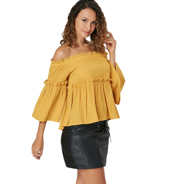 Ruffles Three Quarter Sleeve Strapless Women Blouse in Yellow 7968