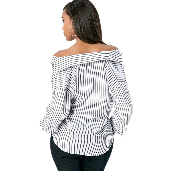Loose Lantern Sleeve Striped Blouse for Ladies 5696