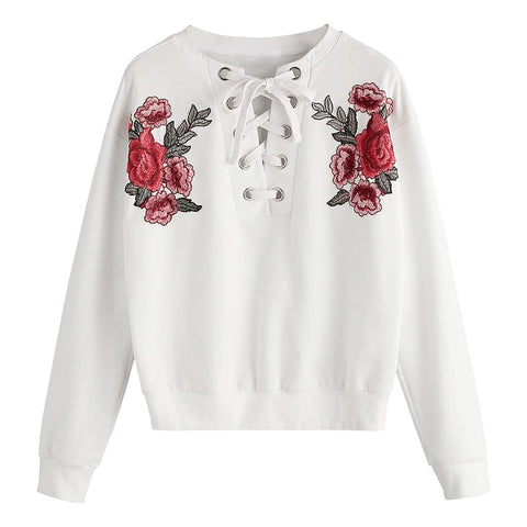 Floral Embroidered Off Collar Tie Waist Blouse for Woman 8751