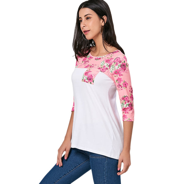 Floral Panel Pocket Tunic Tee 4467