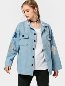 Casual Flower Printed Denim Jacket Coat for Woman 5559