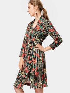Floral Printed Stripe Long Sleeve A-Line Wrap Dress for Women 7683