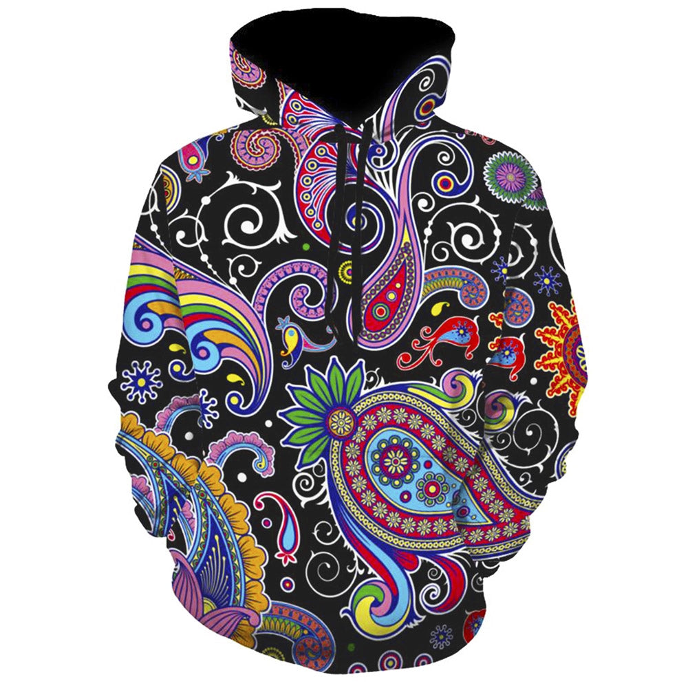 Long Sleeve Paisley Printing Men Hoodie Sweatershirt with Kangaroo Pocket 9998