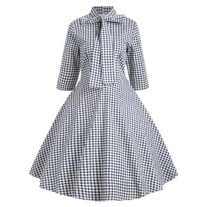 Lovely Cotton Plaid Dress for Women 8030