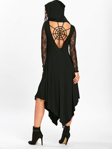 Spider Web Hollow Out Black Lace Long Sleeved Handkerchief Dress 1590