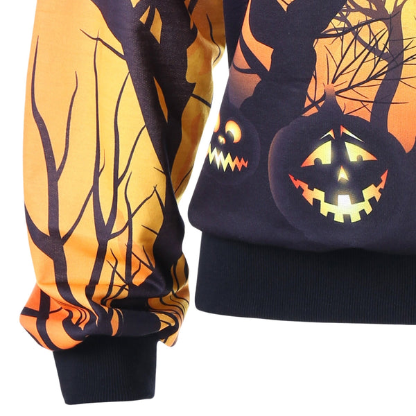 Pumpkin Tree Printed Women Halloween Sweatshirt Top 5908