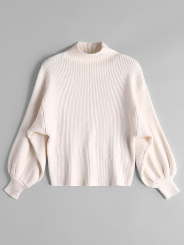 Mock Neck Long Sleeve Woman Bottom Sweater 6696