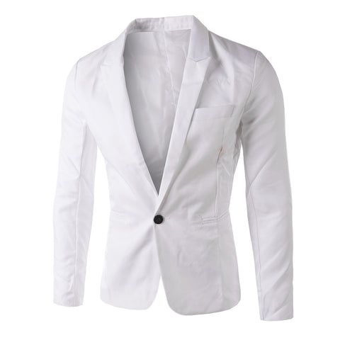 Men's Casual Tailored Collar Single Button Solid Color Blazer