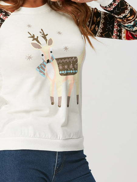 Casual Reindeer Printed Long Sleeve Woman T-shirt 2743
