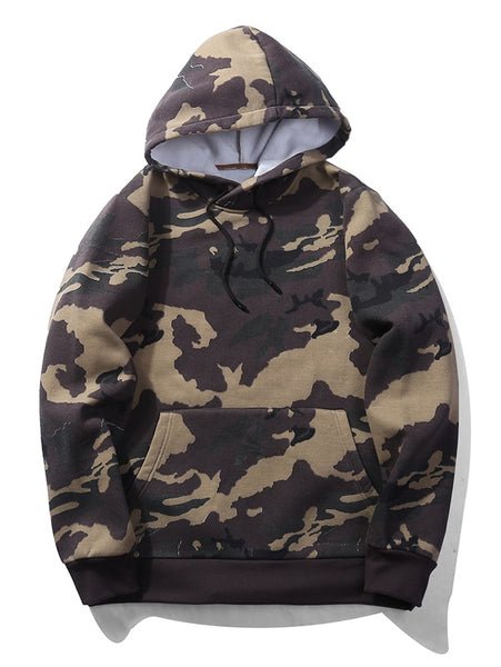 Cool Camouflage Pattern Fleece Man Hoodie with Pouch 3007