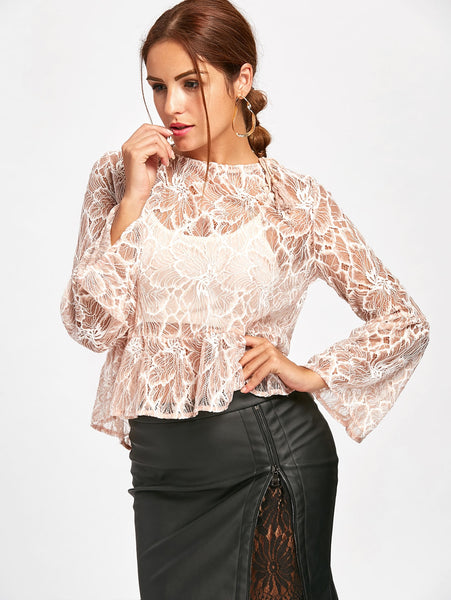 Cutout Flare Sleeve Lace Transparent Dress Blouse for Ladies 6834