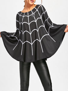 Halloween Spider Web Print Swing Poncho 3100