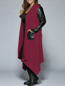 Big Size 2 Color Asymmetric Hem Women Coats 3562