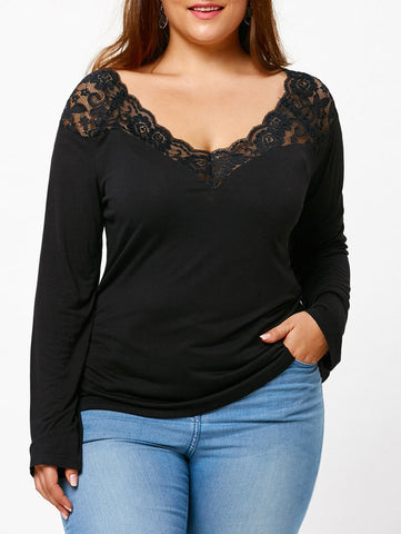 Sexy Lace Woman Long Sleeve Bottom T-shirt 5619