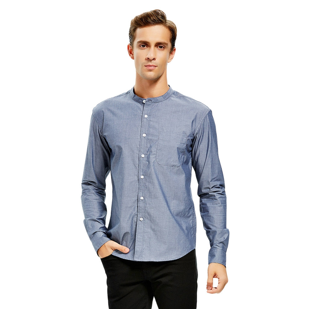 Stand Collar Slim Fit Cotton Men Shirt 7773