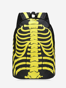Day and Night Noctilucence Skull Women Backpack 3847