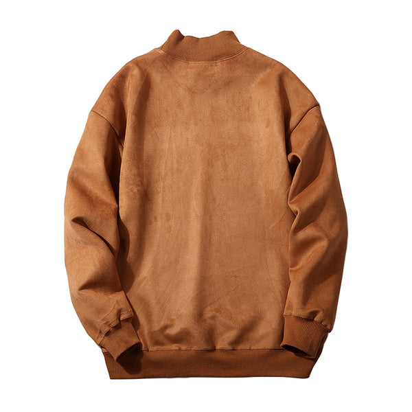 Casual Graphic Printed Faux Suede Long Sleeved Men Pullover Sweatshirt 8722