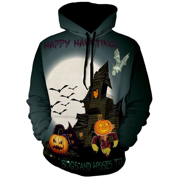 Casual Graphic Pattern Man Pullover Hoodie for Halloween 8235