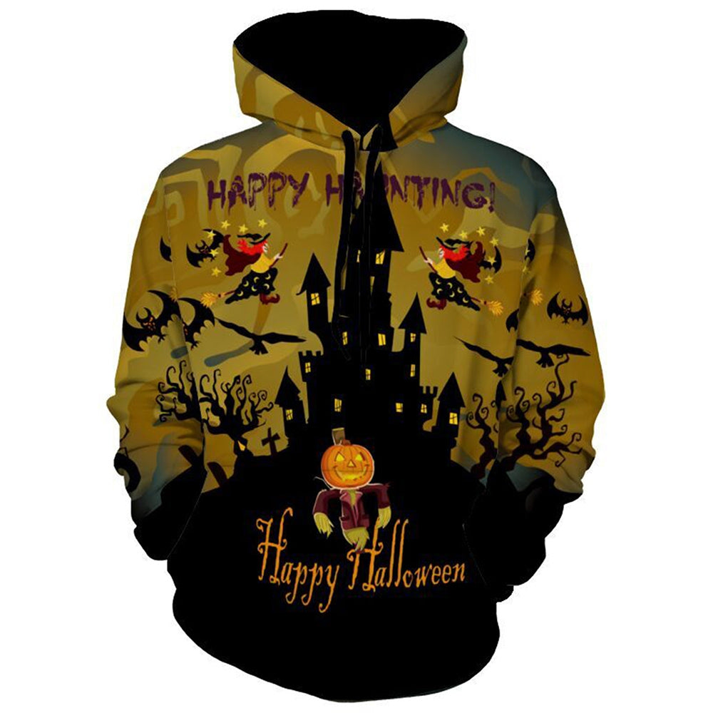 Pumpkin Witch Graphic Printed Halloween Pullover Hoodie 1313