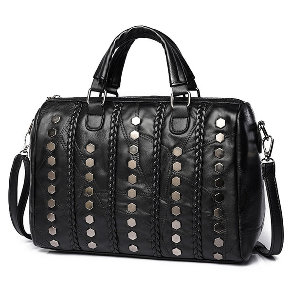 Pu Leather Studded Quilted Tote Shoulder Bags 2383