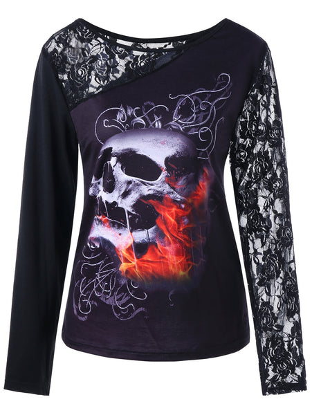Halloween Long Sleeve Lace Insert Skull Print Top 8459
