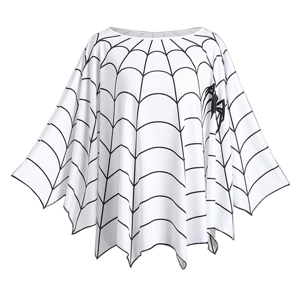 Spider Web Design Women Loose Blouse Poncho Tops 6304