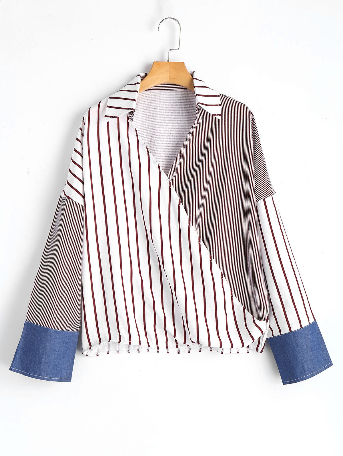 Stripe Vneck Batwing Sleeve Ladies Blouse 9920