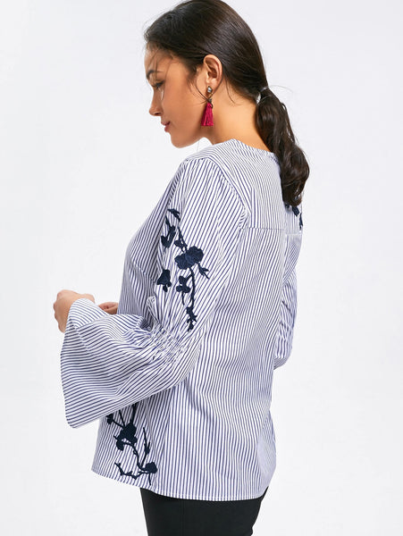 Casual Stripes Floral Printed Flare Sleeve Loose Blouse 5194