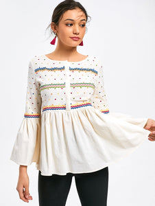 Cotton Polka Dot Printed Flare Sleeve Women Blouse Top 7255