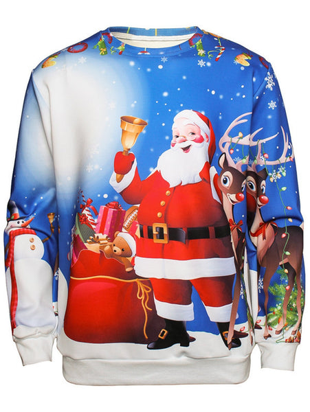Father Christmas Printed Pullover Man Long Sleeve Sweatshirt 8315